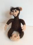 peluche singe en laine feutrée