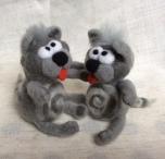 chats en laine feutree